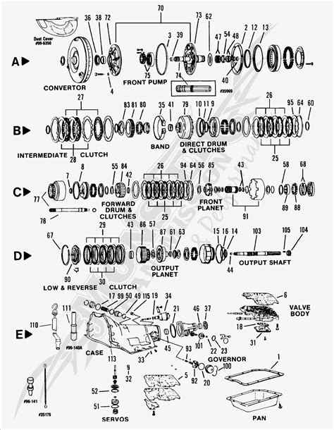 turbo 350c th350c automatic transmission parts and diagram