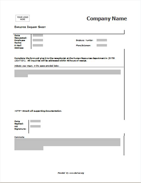 enquiry form template word employee inquiry form for word openoffice writer