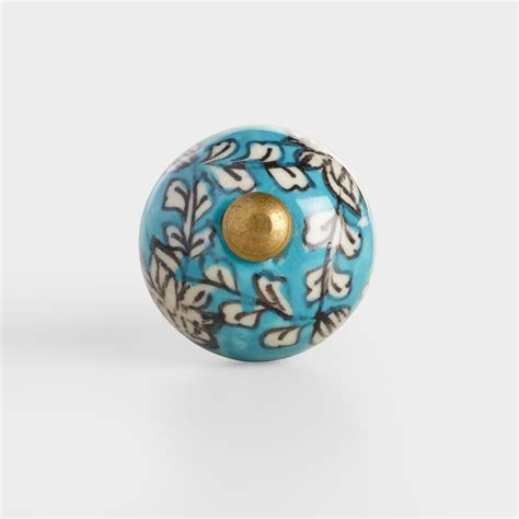 blue floral mini ceramic knobs set of 2 world market