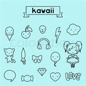 Set of decorative design elements kawaii doodles vector colourbox