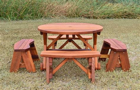 round wooden picnic bench round wood picnic table with wheels forever redwood