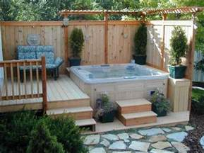 tub in small backyard with privacy fence ideas home