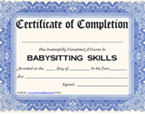 Babysitting Certification Certificate Printable Templates