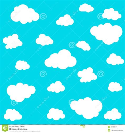 free cloud pattern background cloud seamless pattern on blue background vector