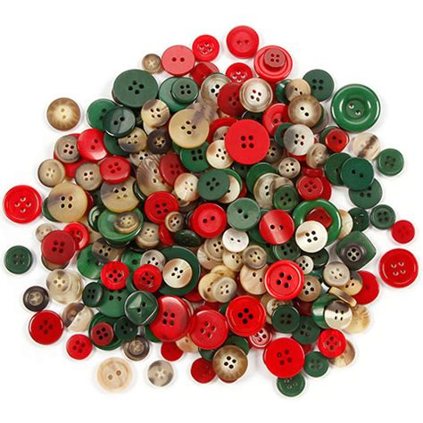 assorted plastic craft buttons in folk christmas colors