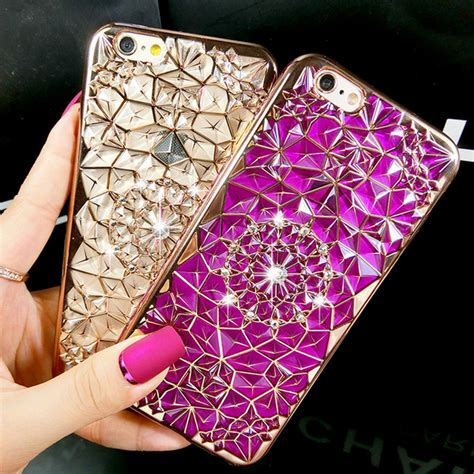 Sulada Luxury 3d Design Tpu Iphone 7plus new luxury 3d electroplating flowers rhinestone bling soft