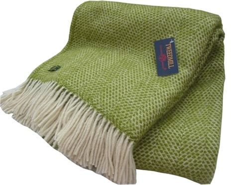 green throws for sofas wool blanket online british made gifts honeycomb pure