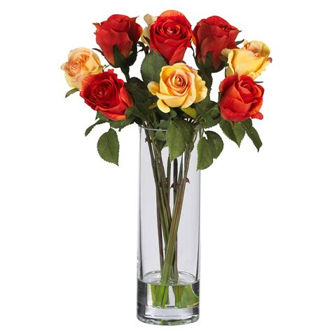 Flower Arrangements In A Vase by Flowers In A Vase Pictures Gt Silk Arrangements Gt Roses W Glass Vase Silk Flower