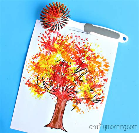 autumn craft projects fall tree craft using a dish brush crafty morning