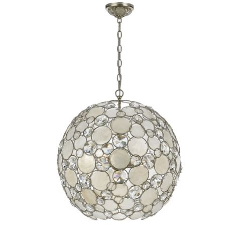 Chandelier And Pendant Lighting Palla 6 Light 22 Quot Antique Silver Pendant Chandelier With Capiz Shell Large