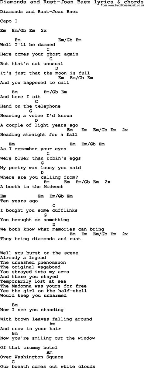 lyrics and song lyrics for diamonds and rust joan baez with chords