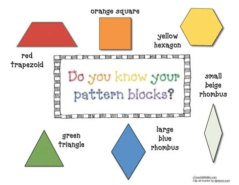 name of pattern block shapes pattern block anchor chart poster math pinterest