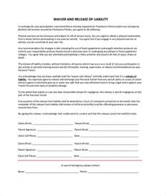 fitness waiver and release form template sle release of liability form 9 exles in pdf word