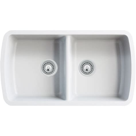 white undermount kitchen white quartz composite 50 50 double bowl undermount