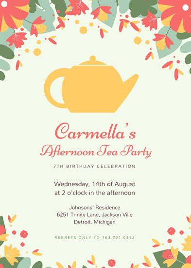 tea invitation tea invitation with astounding
