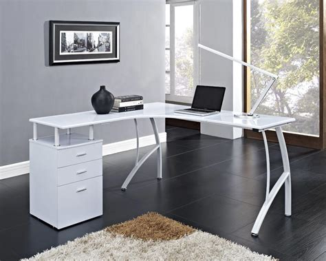 white corner computer desk home office table with drawers