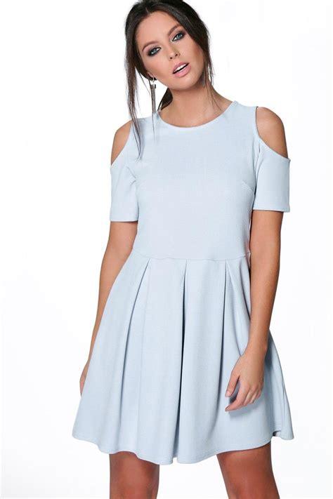 Open Shoulder boohoo womens textured open shoulder skater dress ebay