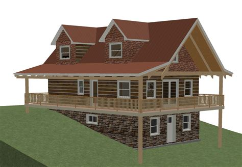 small cabin plans with basement log home plans with walkout basement log home plans with