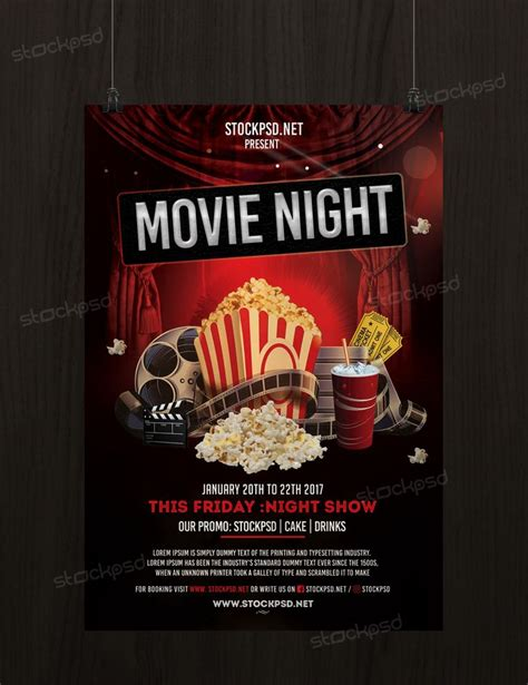 movie night free psd flyer template psd flyers