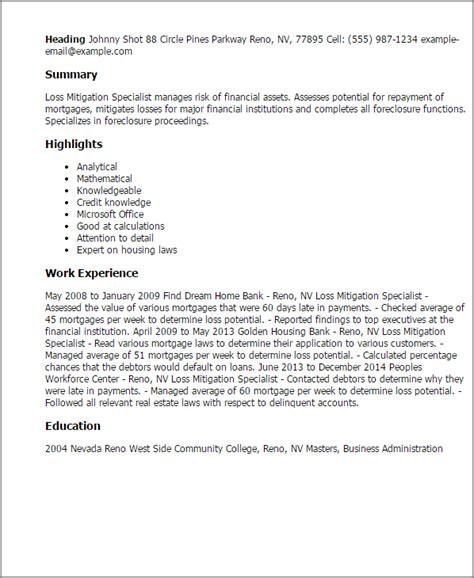 Foreclosure Specialist Cover Letter by Professional Loss Mitigation Specialist Templates To Showcase Your Talent Myperfectresume