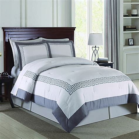 buy greek key 3 piece queen comforter set in grey from bed