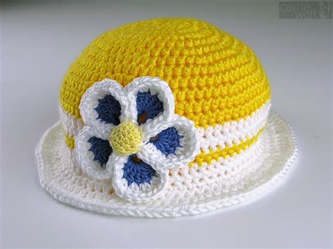 yellow hat pattern crochet baby headband with flower pattern