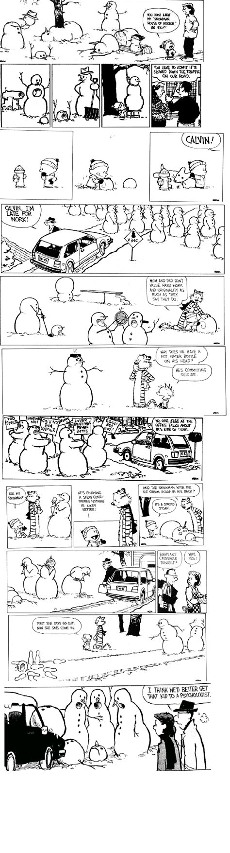 calvin and hobbes snowmen xmas