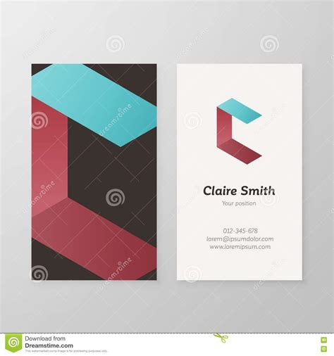 business card logo design template business card isometric logo letter c template stock
