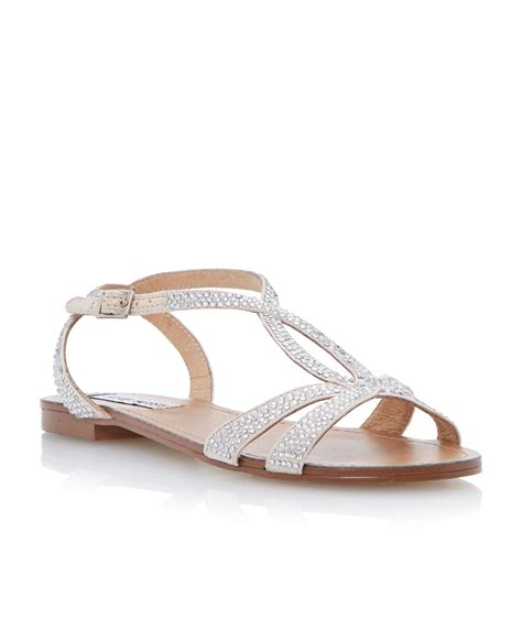 flat silver shoes steve madden starrz diamante crossover flat sandals in