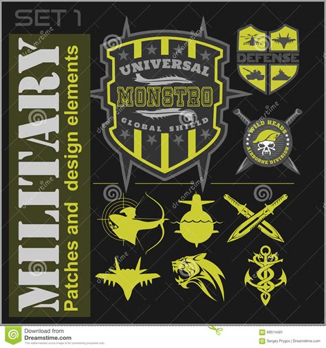 set of military patches logos badges and design elements