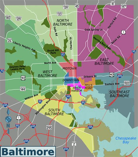baltimore city map file baltimore districts map png