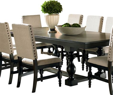 dining and kitchen tables steve silver leona rectangular dining table in rubbed traditional dining tables