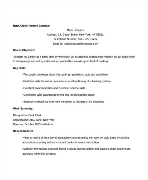 free sle resume personal banker bank clerk resume sle 28 images bank clerk resume sle 28 images accounting clerk sle resume