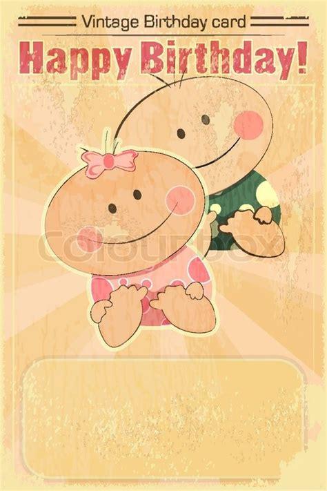 Baby Birthday Card Design Retro Design Baby Birthday Card Vector Colourbox