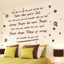 Life Quote Wall Stickers life goes on wall art quote stickers butterfly flower wall decals wall