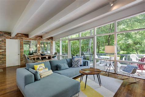 mid century modern family room mid century modern farmhouse family room midcentury with slanted ceiling mid centur