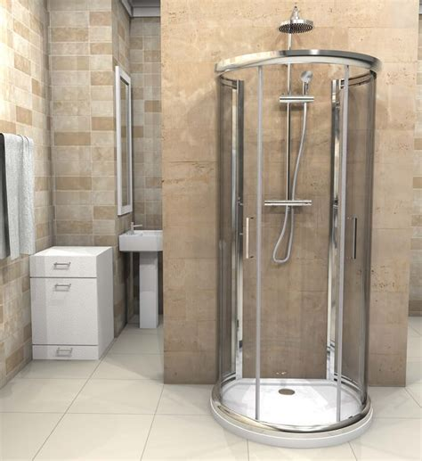 D Shaped Shower Enclosure 900mm X 770mm One Wall Quadrant Showers Cubicles In Small Bathroom