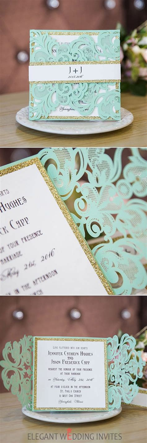 seafoam green and gold wedding invitations 701 best images about invitations stationery on