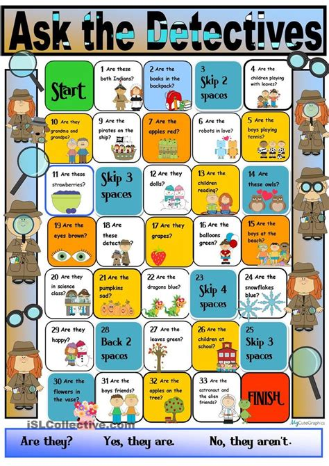 printable board games for elementary students detective boardgame for the verb to be third person plural