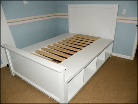 white diy size bed frame with storage shelf decofurnish