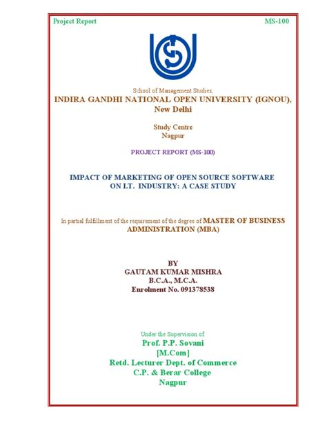 Scribd Project Report Mba by Cover Page Ignou Project
