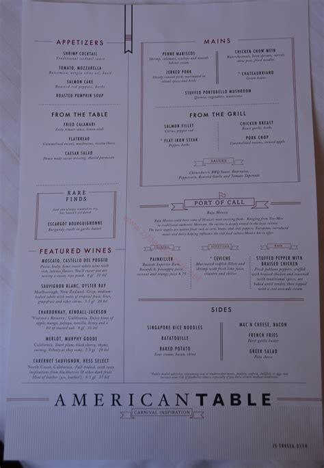 carnival inspiration 3 day american table menus day 3