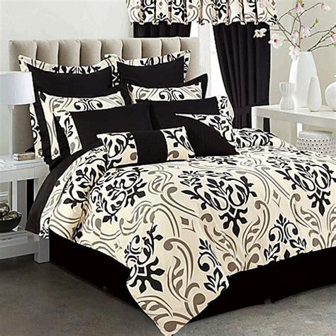 bed bath and beyond tribeca tribeca living prague 12 piece comforter set in black