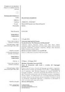 Formato Europeo Curriculum Vitae Compilato Curriculum Vitae Barresi Word