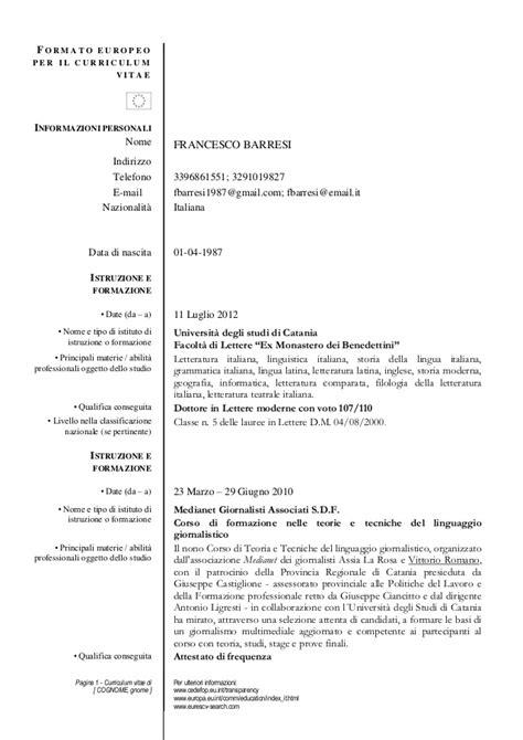 Modelo Curriculum Artistico Curriculum Vitae Barresi Word