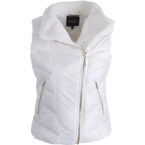 Lust List Shearling Puffer Vest by Couture Black Label 9809 Womens Shearling Puffer