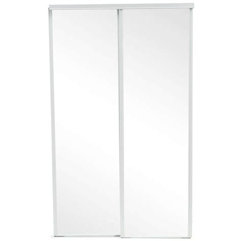 Mirror Closet Sliding Doors Home Depot by Truporte 48 In X 80 In 230 Series White Mirror Interior