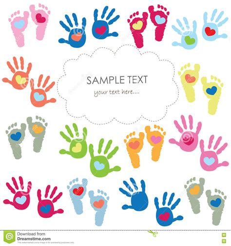 Handprint Birthday Cards Baby Footprint And Hands Kids Colorful Greeting Card
