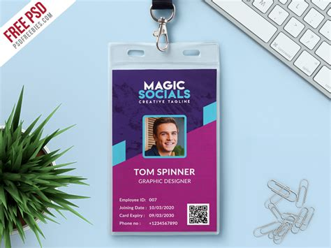 department id card template free office identity card free psd psdfreebies
