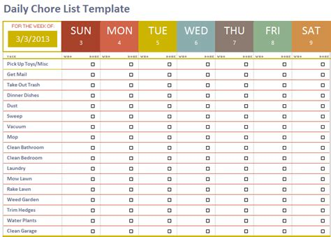 daily chore chart template chore checklist template 28 images chore list template